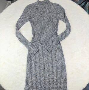 A&F ribbed bodycon long slv knit mini dress